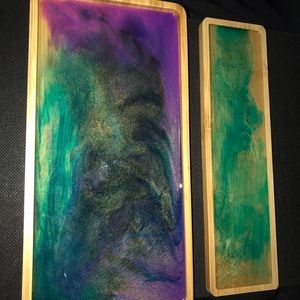 Hand poured resin & ink bamboo trays